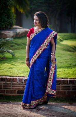 Royal blue jute silk jacquard saree