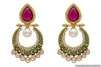 ANTIQUE GOLDEN STONE STUDDED POLKI DROPS EARRINGS/HANGINGS (RED GREEN)  - PCAE2133