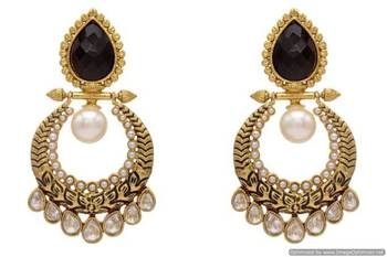 ANTIQUE GOLDEN STONE STUDDED POLKI DROPS EARRINGS/HANGINGS (BLACK)  - PCAE2136