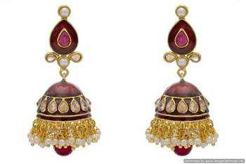 ANTIQUE GOLDEN STONE STUDDED POLKI MEENA WORK JHUMKA EARRINGS/HANGINGS (RED)  - PCAE2157