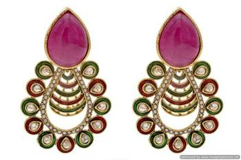 ANTIQUE GOLDEN STONE STUDDED POLKI MEENA WORK EARRINGS/HANGINGS (RED GREEN)  - PCAE2159