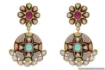 ANTIQUE GOLDEN STONE STUDDED POLKI MEENA WORK FLOWER STYLE EARRINGS/HANGINGS (RED GREEN)  - PCAE2168