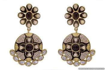 ANTIQUE GOLDEN STONE STUDDED POLKI MEENA WORK FLOWER STYLE EARRINGS/HANGINGS (BLACK)  - PCAE2171