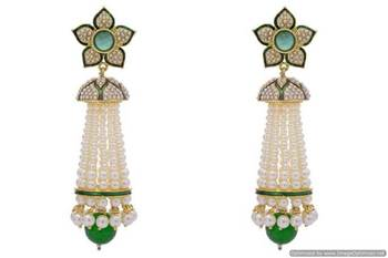 ANTIQUE GOLDEN ROYAL MEENA WORK LONG FLOWER STYLE PEARL JHUMKA EARRINGS/HANGINGS (GREEN)  - PCAE2178
