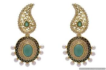 ANTIQUE GOLDEN STONE STUDDED KAIRI STYLE EARRINGS/HANGINGS (GREEN)  - PCAE2190