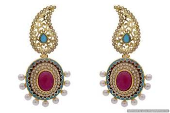 ANTIQUE GOLDEN STONE STUDDED KAIRI STYLE EARRINGS/HANGINGS (RED TURQUOISE)  - PCAE2191