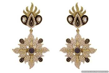 ANTIQUE GOLDEN STONE STUDDED POLKI PEARL WORK EARRINGS/HANGINGS (BLACK)  - PCAE2201