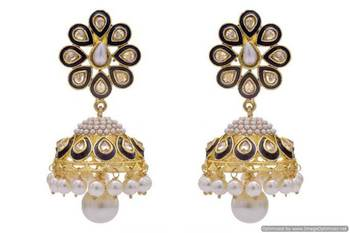 ANTIQUE GOLDEN STONE STUDDED POLKI MEENA WORK PEARL JHUMKA EARRINGS/HANGINGS (SAPPHIRE)  - PCAE2221