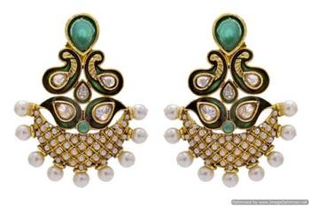 ANTIQUE GOLDEN STONE STUDDED MEENA WORK PEARL EARRINGS/HANGINGS (GREEN)  - PCAE2225