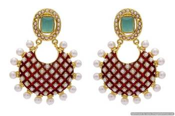 ANTIQUE GOLDEN STONE STUDDED MEENA WORK PEARL EARRINGS/HANGINGS (RED GREEN)  - PCAE2228
