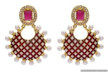ANTIQUE GOLDEN STONE STUDDED MEENA WORK PEARL EARRINGS/HANGINGS (RED)  - PCAE2229