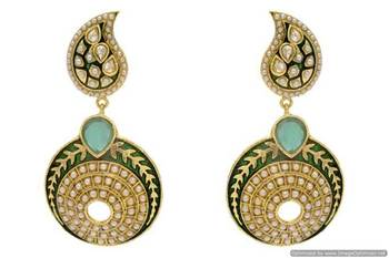 ANTIQUE GOLDEN STONE STUDDED KAIRI SHAPED ROUND EARRINGS/HANGINGS (GREEN)  - PCAE2241