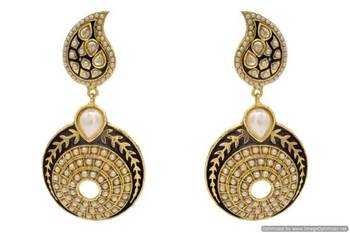 ANTIQUE GOLDEN STONE STUDDED KAIRI SHAPED ROUND EARRINGS/HANGINGS (PEARL)  - PCAE2242