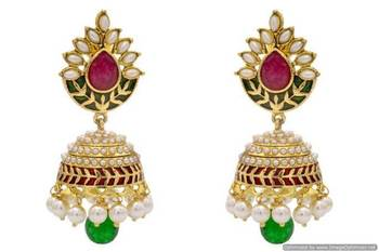 ANTIQUE GOLDEN STONE STUDDED MEENA WORK PEARL EARRINGS/HANGINGS (RED GREEN)  - PCAE2244