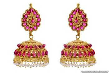 ANTIQUE GOLDEN TRADITIONAL STONE STUDDED ROYAL JHUMKA EARRINGS/HANGINGS (POTA RED)  - PCAE2250