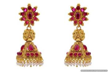 ANTIQUE GOLDEN TRADITIONAL STONE STUDDED ROYAL JHUMKA EARRINGS/HANGINGS (POTA RED)  - PCAE2251