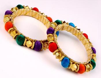Golden Multicolour Ball Kada