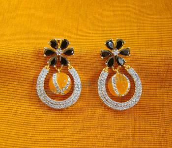 Black N Orange Flower CZ Earrings