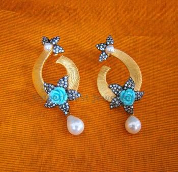 CZ Turquoise Resin Flower Earrings