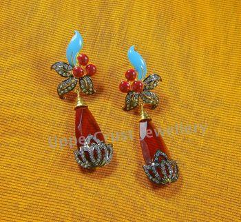 Pink N Blue Black Rhodium Plated Earrings