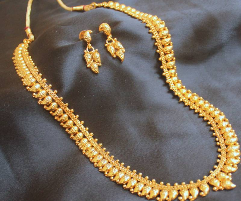 Gold Plated Long Necklace Online Long Antique Gold Plated