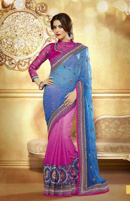 Georgette Pink Color Saree