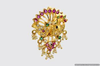 ROYAL PEACOCK MULTI STONE STUDDED LOCKET & HAIRPIN (2 IN 1) - PCL1004