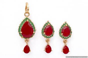 EXOTIC STONE STUDDED PAAN LOCKET SET WITH EARRINGS (RUBY EMRALD) - PCL1009