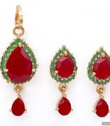 Buy EXOTIC STONE STUDDED PAAN LOCKET SET WITH EARRINGS (RUBY EMRALD) - PCL1009 Pendant online