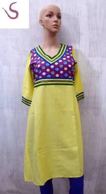long kurti in lime yellow
