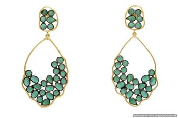 AD STONE STUDDED BLACK RHODIUM EARRINGS/HANGINGS (GREEN)  - PCFE3002