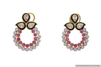 AD STONE STUDDED ELEGANT AD POLKI CHAAND BALI EARRINGS/HANGINGS (RED)  - PCFE3006