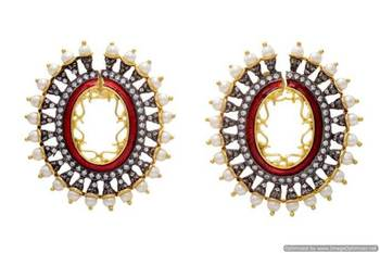 AD STONE STUDDED OVAL SHAPED MEENA PEARLS EARRINGS/HANGINGS (RED)  - PCFE3012