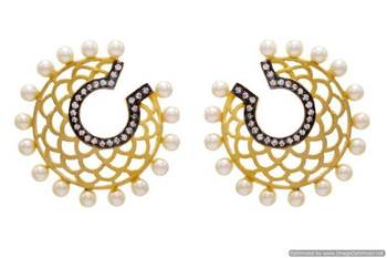 AD STONE STUDDED GOLDEN JAALI EARRINGS/HANGINGS (BLACK RHODIUM)  - PCFE3019