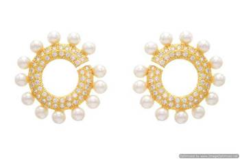 AD STONE STUDDED GOLDEN EARRINGS/HANGINGS (PEARL)  - PCFE3026