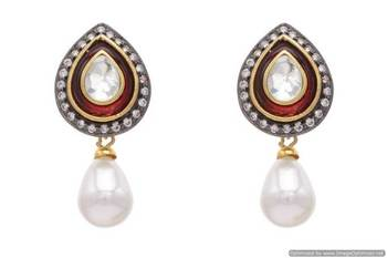 AD STONE STUDDED DROP SHAPED MEENA EARRINGS/HANGINGS (RED PEARL)  - PCFE3037
