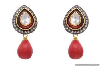 AD STONE STUDDED DROP SHAPED MEENA EARRINGS/HANGINGS (RED CORAL)  - PCFE3039