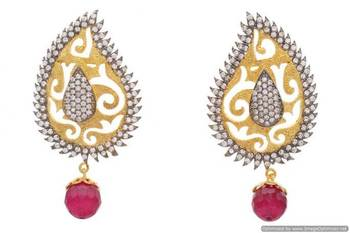 AD STONE STUDDED BLACK RHODIUM KAIRI SHAPED GOLDEN EARRINGS/HANGINGS (RED)  - PCFE3044