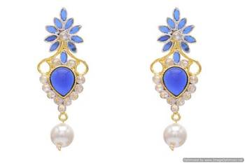 AD STONE STUDDED PAN THEME STYLE EARRINGS/HANGINGS (SAPPHIRE)  - PCFE3051