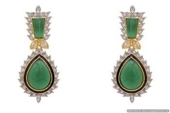 AD STONE STUDDED ROYAL TRADITIONAL EARRINGS/HANGINGS (GREEN)  - PCFE3060