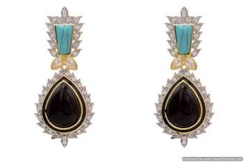 AD STONE STUDDED ROYAL TRADITIONAL EARRINGS/HANGINGS (BLACK TURQUOISE)  - PCFE3061