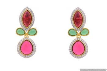 AD STONE STUDDED FLOWER LEAF THEME STYLE EARRINGS/HANGINGS (RED GREEN)  - PCFE3078