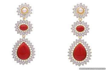 AD STONE STUDDED FLOWER STYLE 3 STEP EARRINGS/HANGINGS (CORAL)  - PCFE3084
