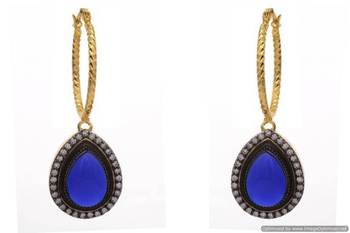 AD STONE STUDDED PAN SHAPE DROP BALI EARRINGS/HANGINGS (SAPPHIRE)  - PCFE3093