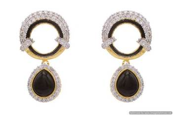 AD STONE STUDDED ROUND MEENA WORK PAN SHAPE DROP EARRINGS/HANGINGS (BLACK)  - PCFE3101