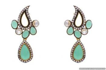 AD STONE STUDDED KAIRI SHAPED PAN DROP EARRINGS/HANGINGS (GREEN)  - PCFE3104
