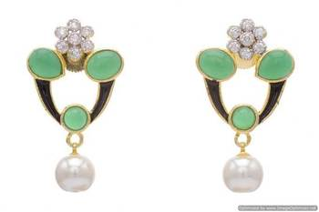 AD STONE STUDDED FLOWER STYLE MEENA WORK  EARRINGS/HANGINGS (GREEN)  - PCFE3111