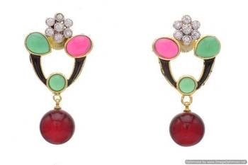 AD STONE STUDDED FLOWER STYLE MEENA WORK  EARRINGS/HANGINGS (RED GREEN)  - PCFE3112