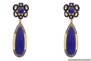 AD STONE STUDDED FLOWER SHAPED EARRINGS/HANGINGS (BLUE)  - PCFE3126