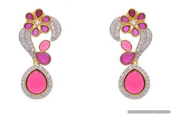 AD STONE STUDDED FLOWER STYLE PAN SHAPE DROP  EARRINGS/HANGINGS (RED)  - PCFE3136